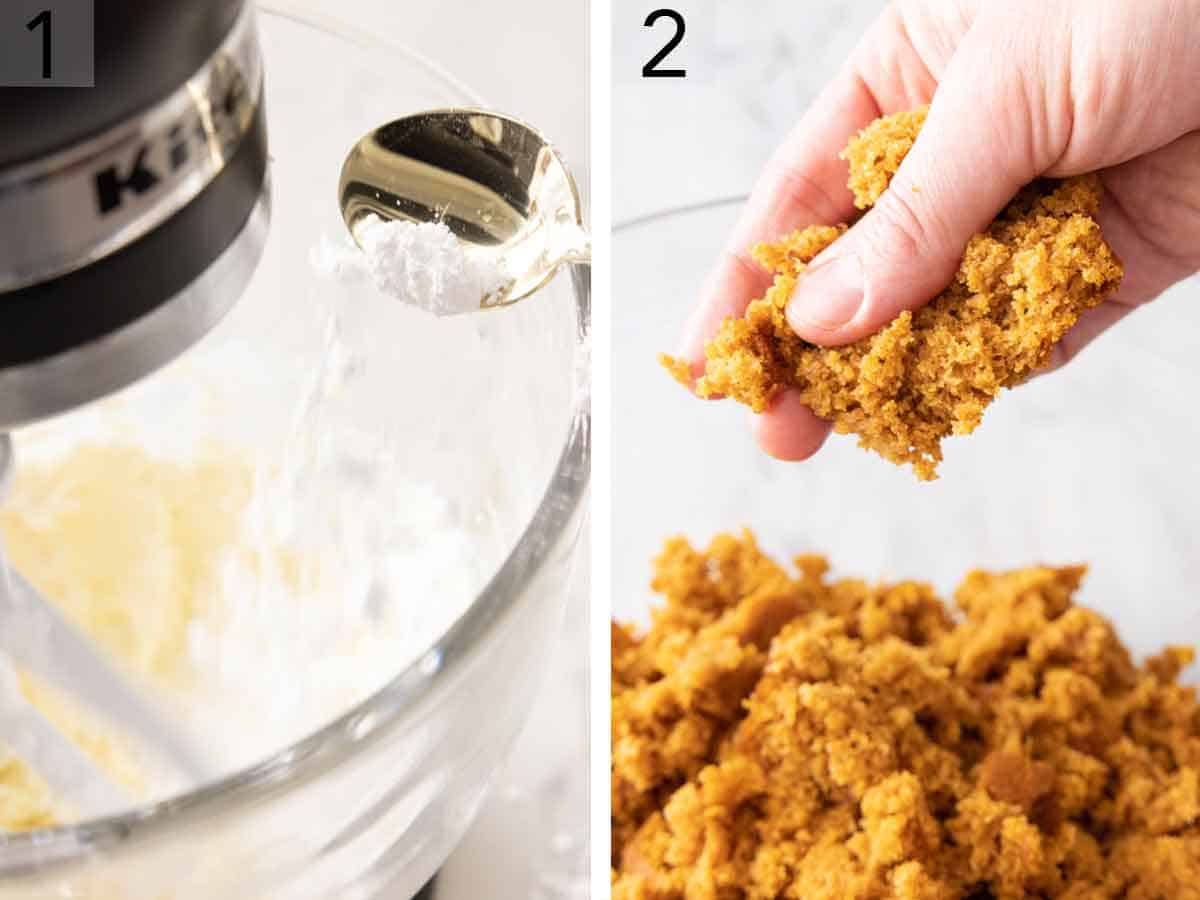 Set of two photos cream cheese and powdered sugar mixed in a mixer and cake being crumbled.