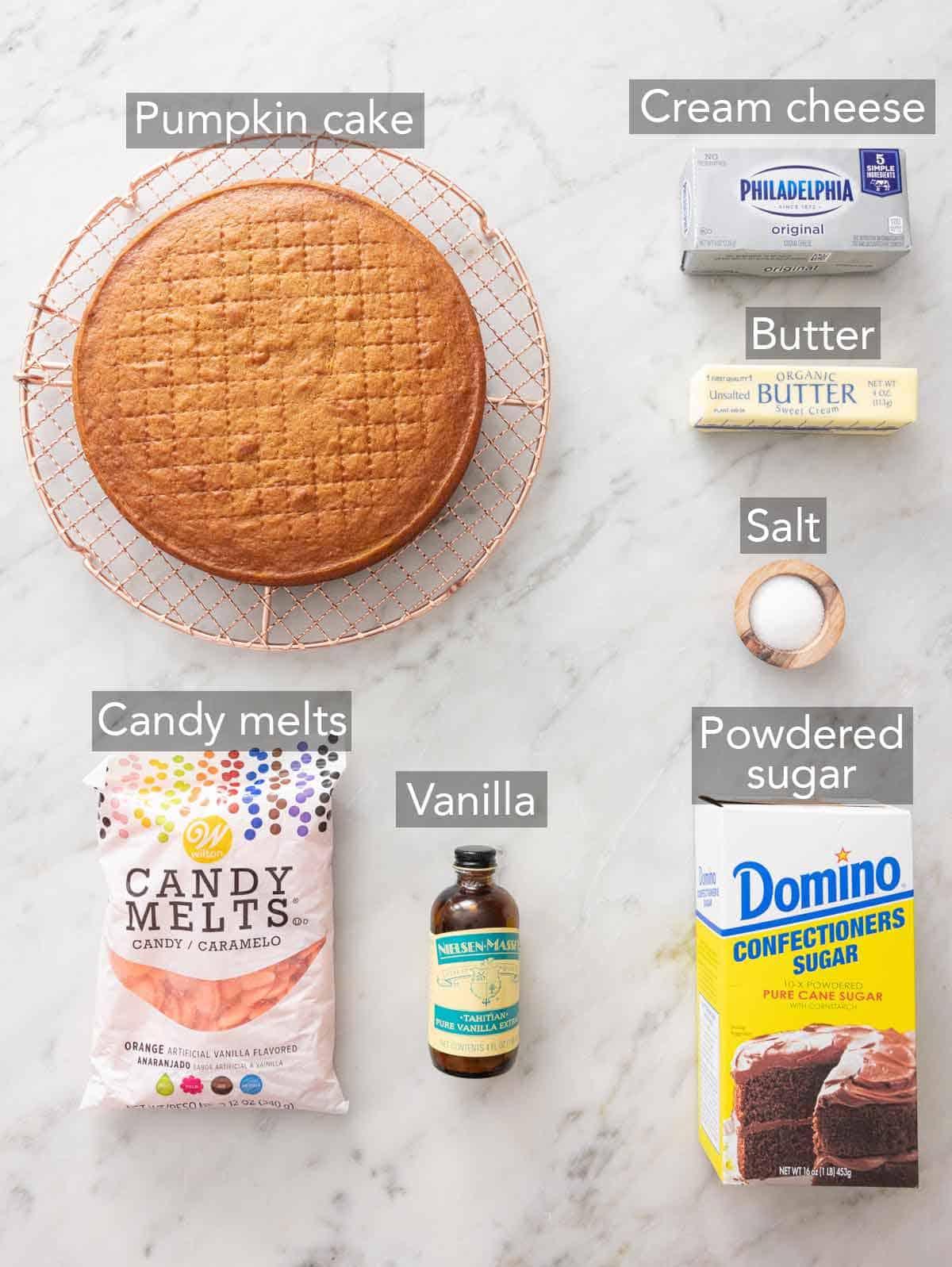 Ingredients needed to make pumpkin cake pops.