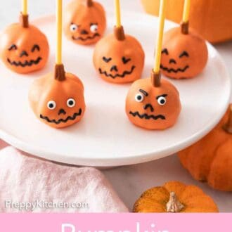 Pinterest graphic of a cake stand with multiple pumpkin cake pops.
