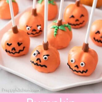 Pinterest graphic of a plate of pumpkin cake pops with faces.