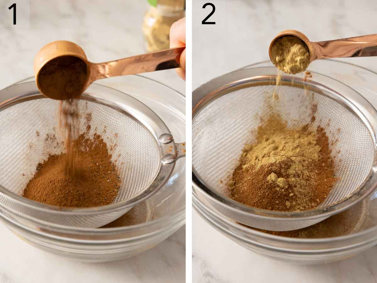 Set of two photos showing cinnamon then ginger added to a bowl with a fine mesh sieve on top.