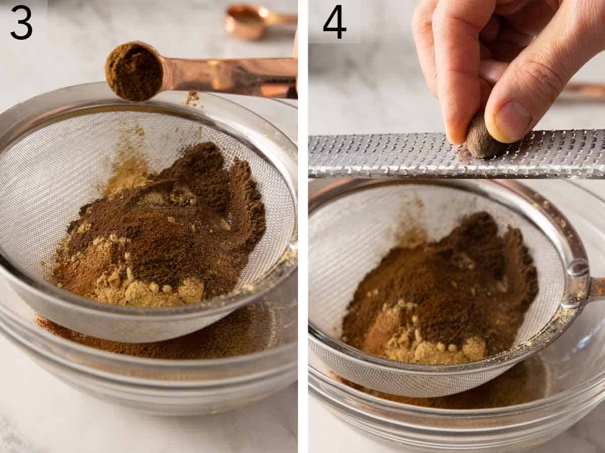 Set of two photos showing allspice and ground cloves added to the bowl and then nutmeg grated over top.