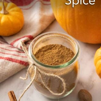 Pinterest graphic of a jar of pumpkin pie spice with a string bowl tied on it