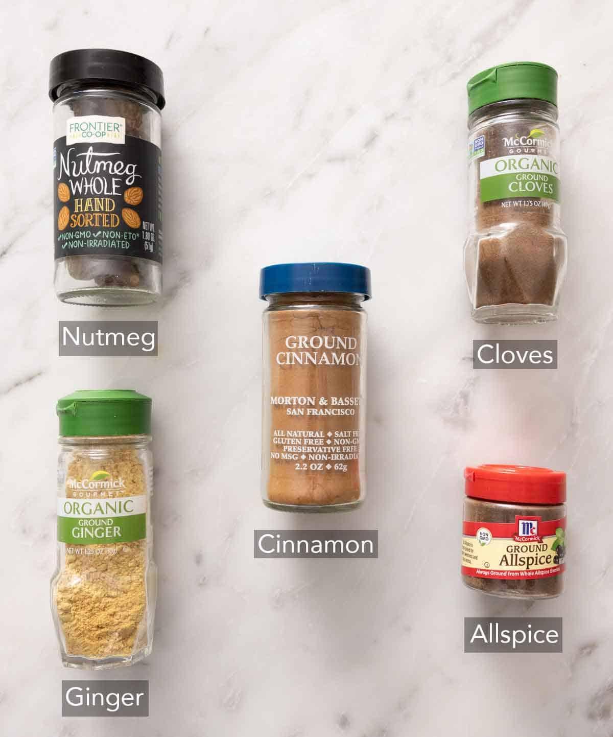 Ingredients needed to make pumpkin pie spice.