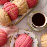 An overhead shot of Pan Dulce and a cup of coffee